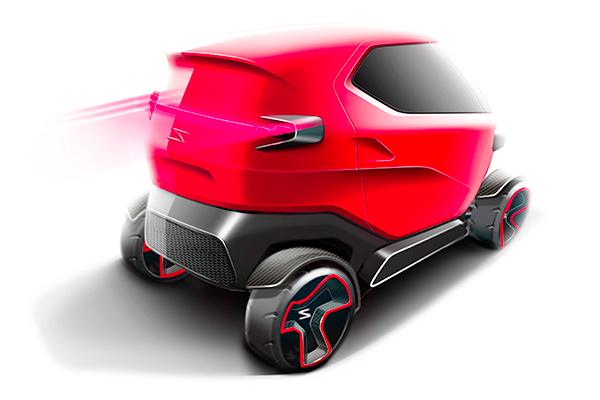 Návrh elektromobilu - pohled zezadu