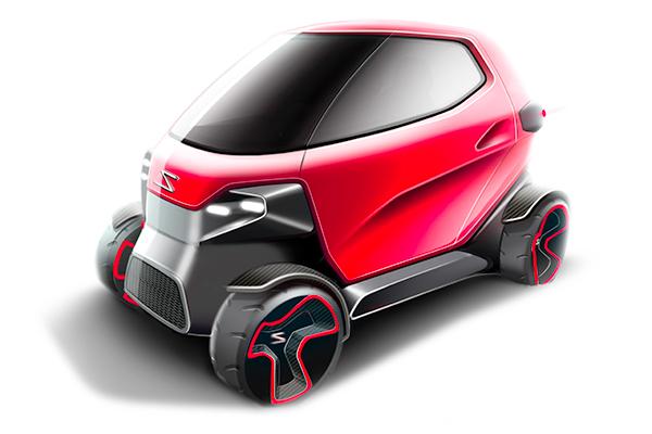 Návrh elektromobilu - pohled z předu